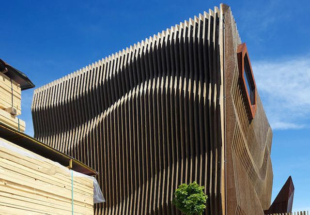 Rippling Wood Facade Facade Architecture Wood Facade Architecture Exterior