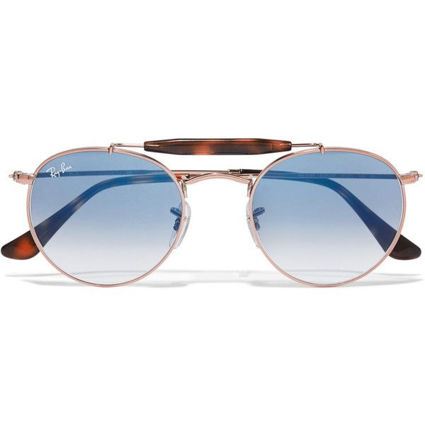 81b22c657a2ae Ray-Ban Round-frame rose gold-tone and acetate sunglasses (12