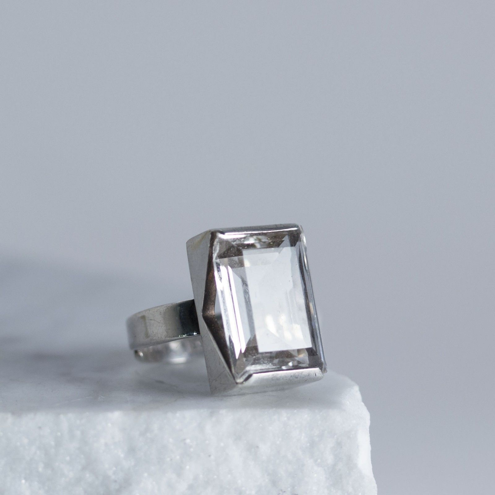 Art Deco silver and crystal ring