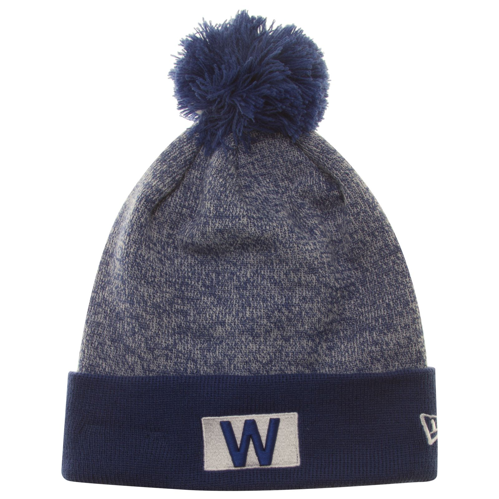Chicago Cubs Heather Blue W Flag Knit Pom Hat by New Era  Chicago  Cubs   ChicagoCubs d145a373ce4