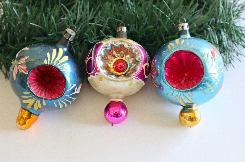 3 Vintage Mercury Glass Antique Ornaments Indents Double Etsy Hand Painted Ornaments Painted Ornaments Christmas Ornaments