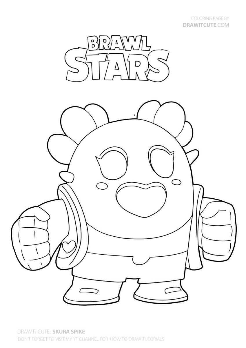 Sakura Spike Brawlstars Draw Drawings Howto Howtodraw Coloringpages Fanart Star Coloring Pages Drawing Tutorial Cute Coloring Pages