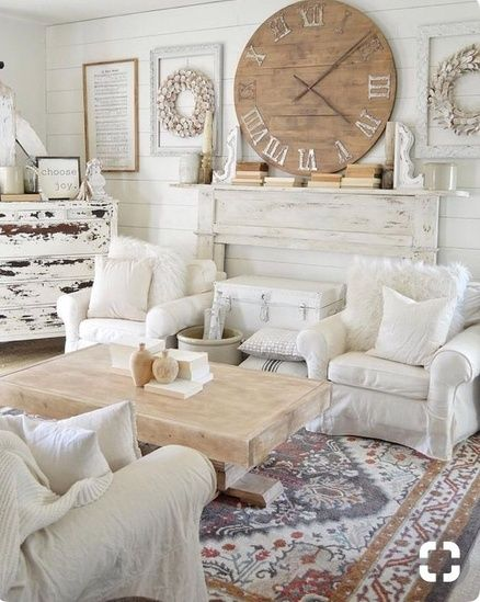 Cozy All White Living Room Decor