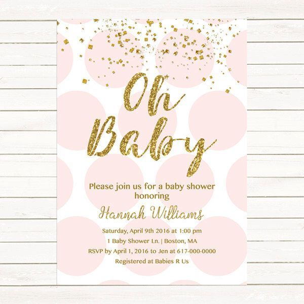 Pink and Gold Baby Shower Invitation, Gold Confetti Baby Girl - baby shower invitation