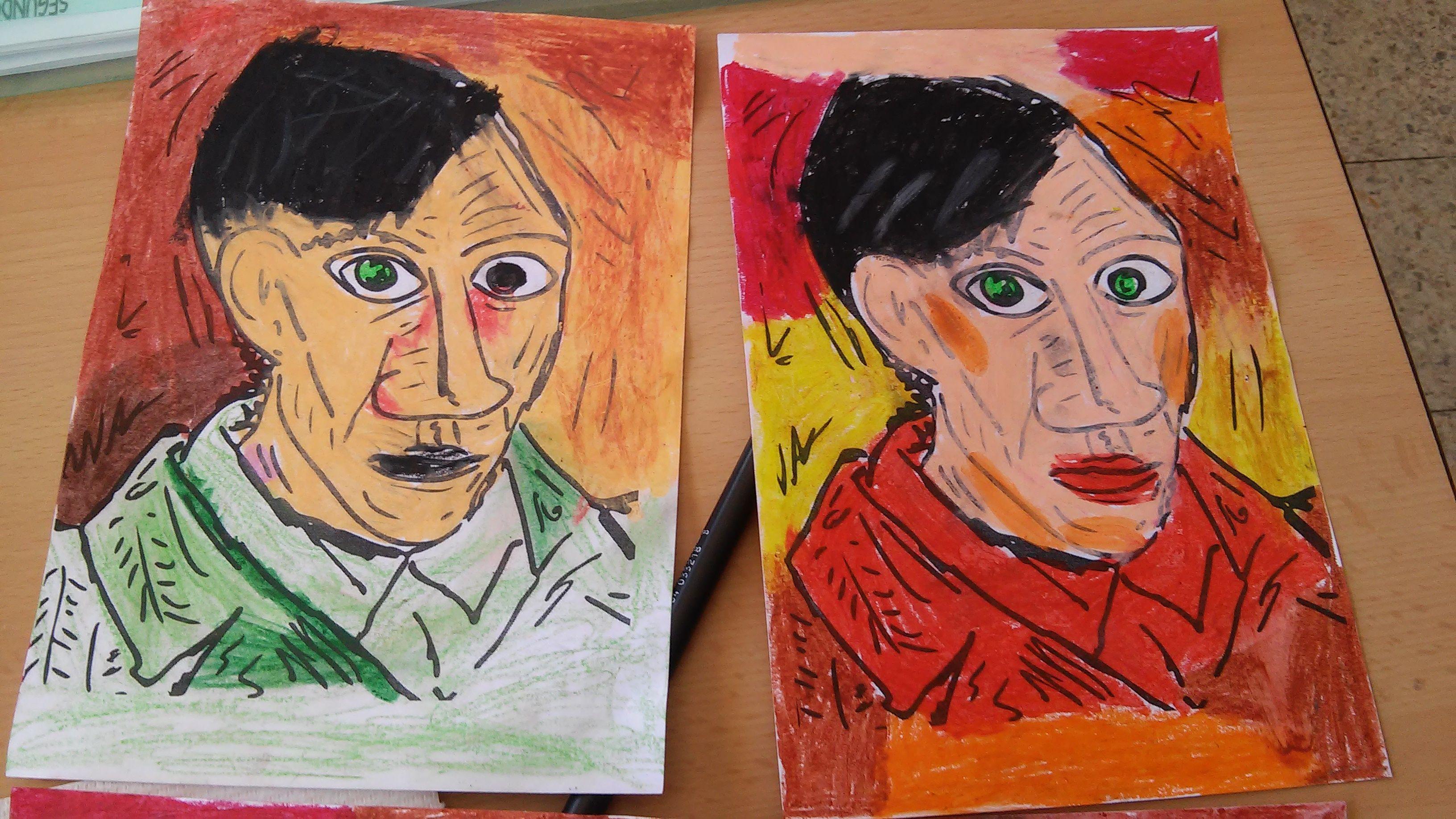 algunos de los retratos coloreados por los niños de 5 años con ceras manley en el proyecto Picasso