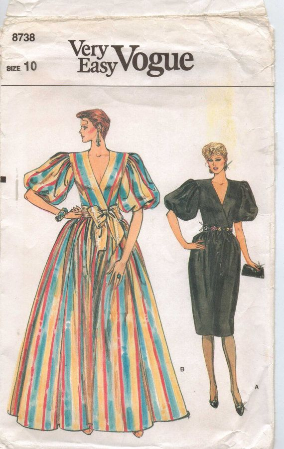 80s Very Easy Vogue Sewing Pattern 8738 Womens Wedding or Evening ...