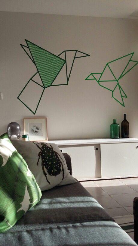 Origami birds washi tape wall artwork origami vogels for Geometric washi tape designs