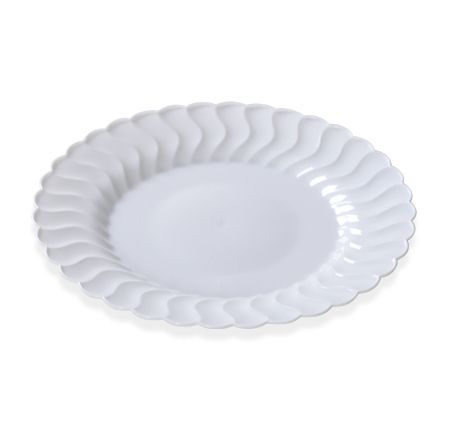 Clear 6 Flaired Plastic Round Dessert Plates