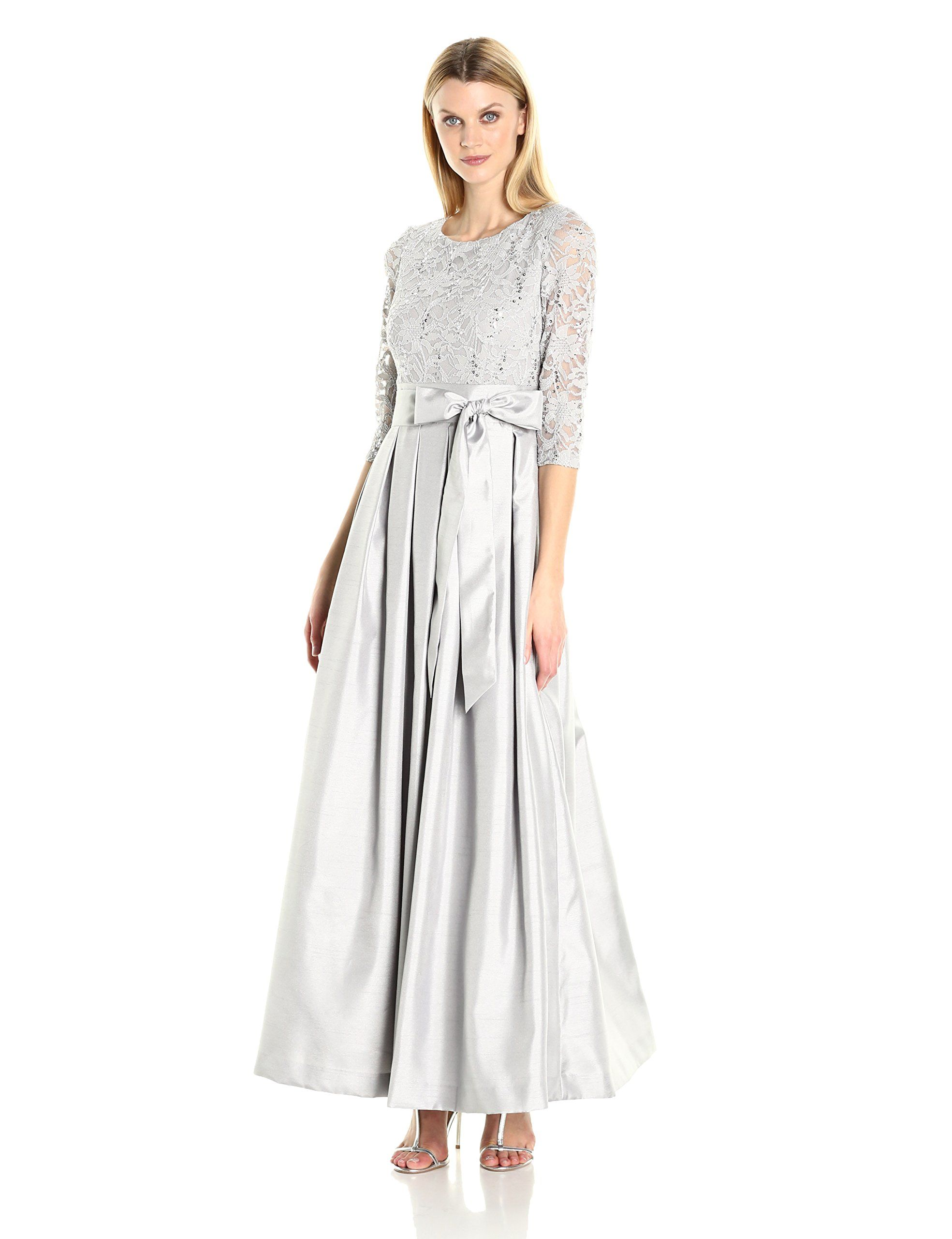 Jessica Howard Women's Ballgown with Lace Bodice, Gray, 16