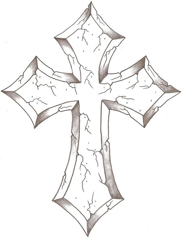 Cross Tattoo Line Drawing : Cross contour lines are very much an