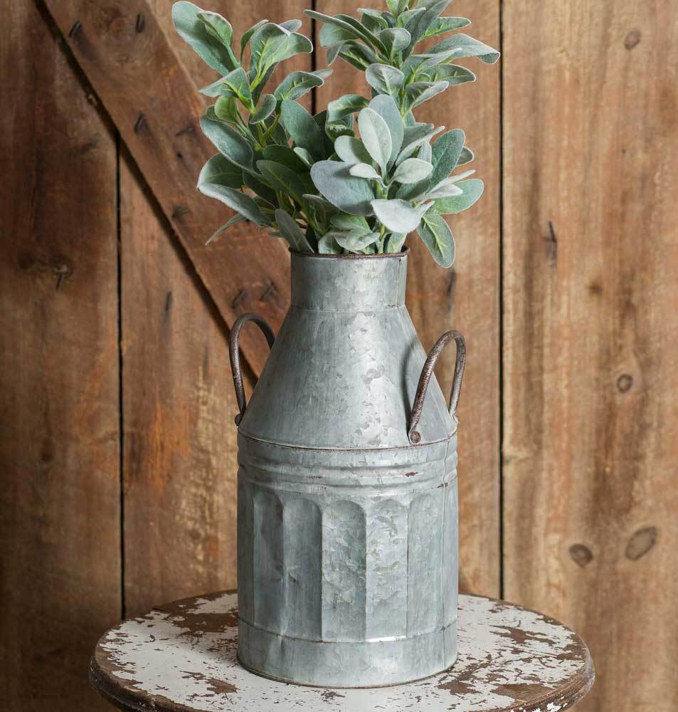 Tall Galvanized Milk Jug Country decor, Country style