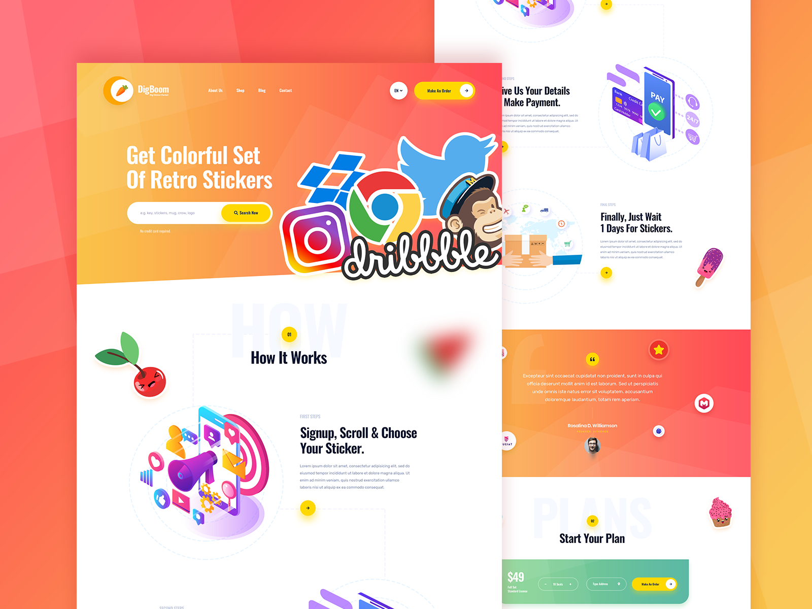 Ui ux web design sticker design web decals stickers site