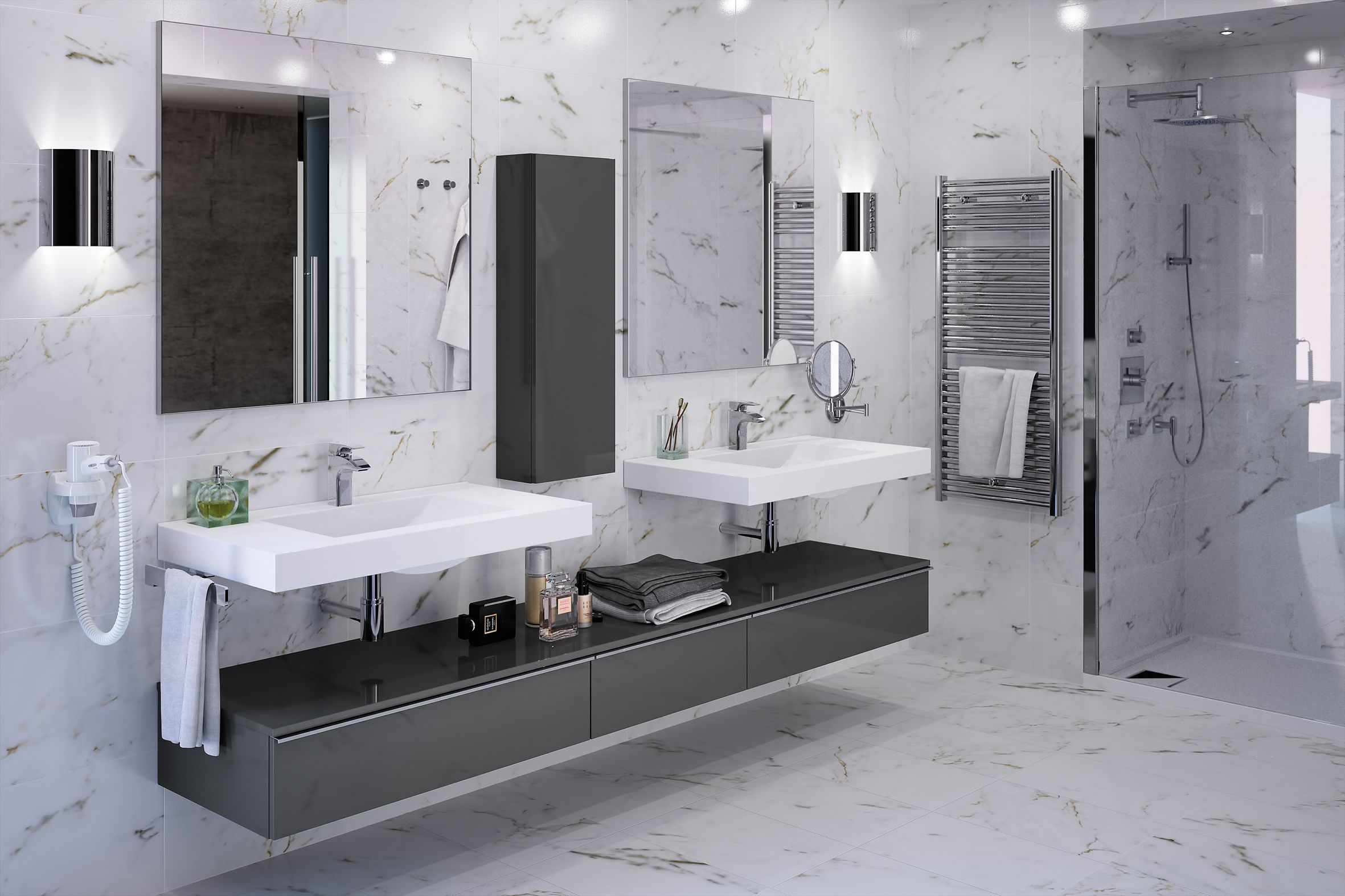 meubles de salle de bain cedam gamme extenso sur mesure marbre meuble gris basalte. Black Bedroom Furniture Sets. Home Design Ideas