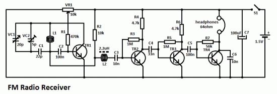 este circuito simples de receptor de r u00e1dio fm  u00e9 composto por uma etapa de rf regeneradora  tr1