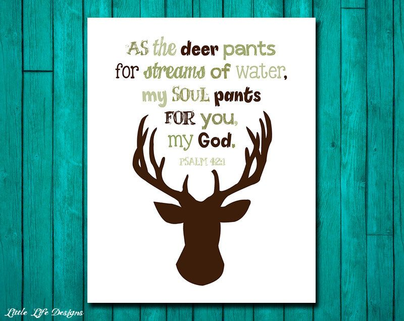 Hunting nursery decor psalm 42 1 hunting decor for Bible verses for kids rooms
