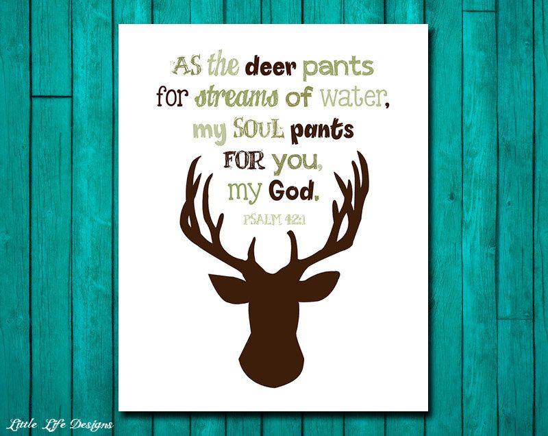 Hunting Nursery Decor Psalm 42 1 Wall Art
