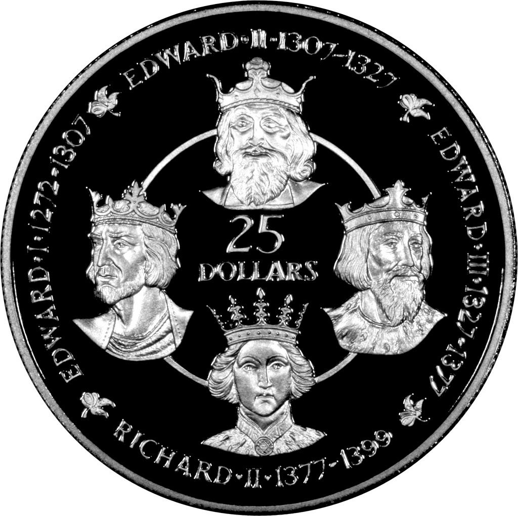 Cayman Islands 25 Dollars Silver Coin 1980, Kings of England - House of Plantagenet This silver coin depicts four Kings on its reverse: Edward I, Edward II, Edward III and Richard II appear next to each other.