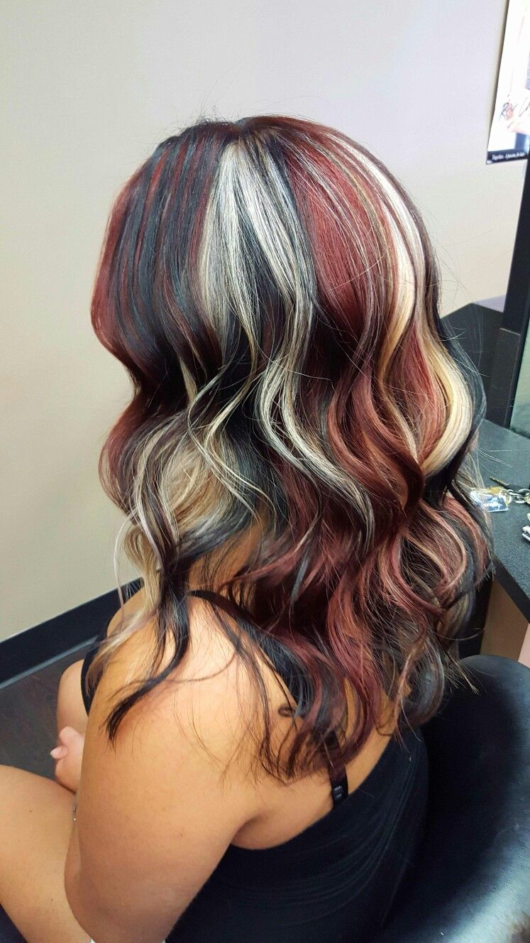 black, red and blonde hair pinwheel technique | hair in 2019