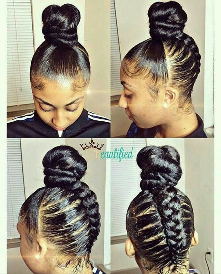 Updo Bun And Braid Natural Hair Styles Hair Styles Hair