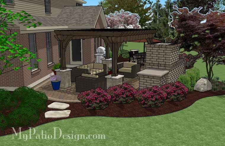 Curvy Outdoor Living Design with Pergola and Fireplace - 630 sq. ft on corner house roof designs, corner house garden designs, corner house yard designs, corner house driveway, corner house plants,
