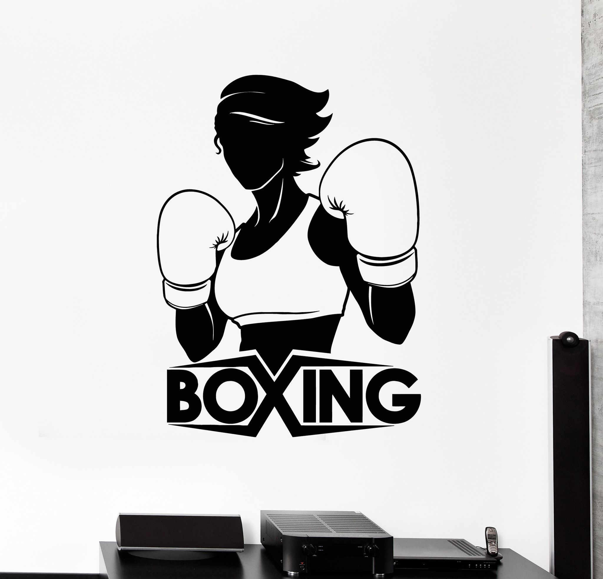 Vinyl Wall Decal Boxing Girl Boxer Sports Woman Stickers ...