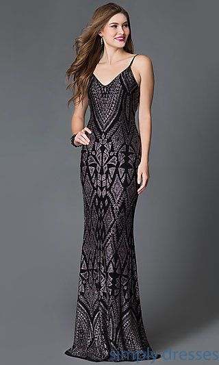 86c5919c6d4 Shop Jump black glitter print long prom gowns at SimplyDresses. Floor  length backless evening dresses with adjustable spaghetti straps for  formals.