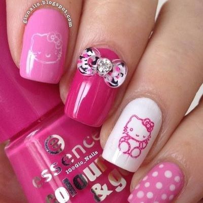 Pink Hello Kitty nails!