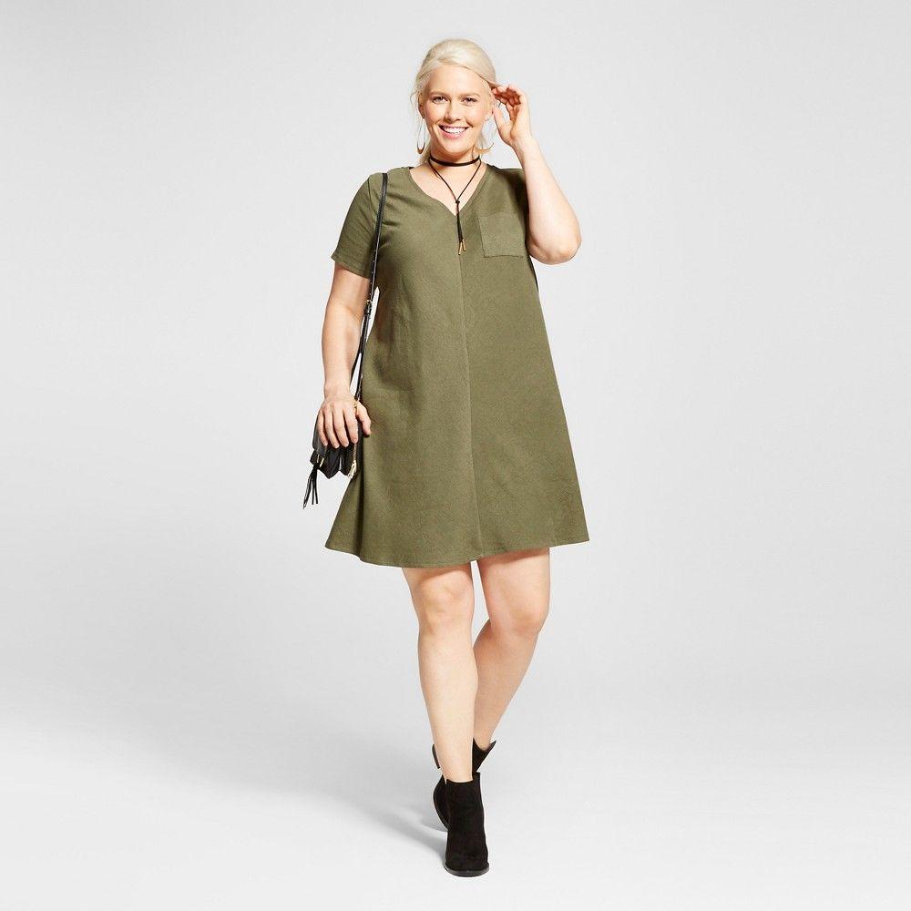 Womenus plus size ribbed tshirt dress olive green x ava u viv