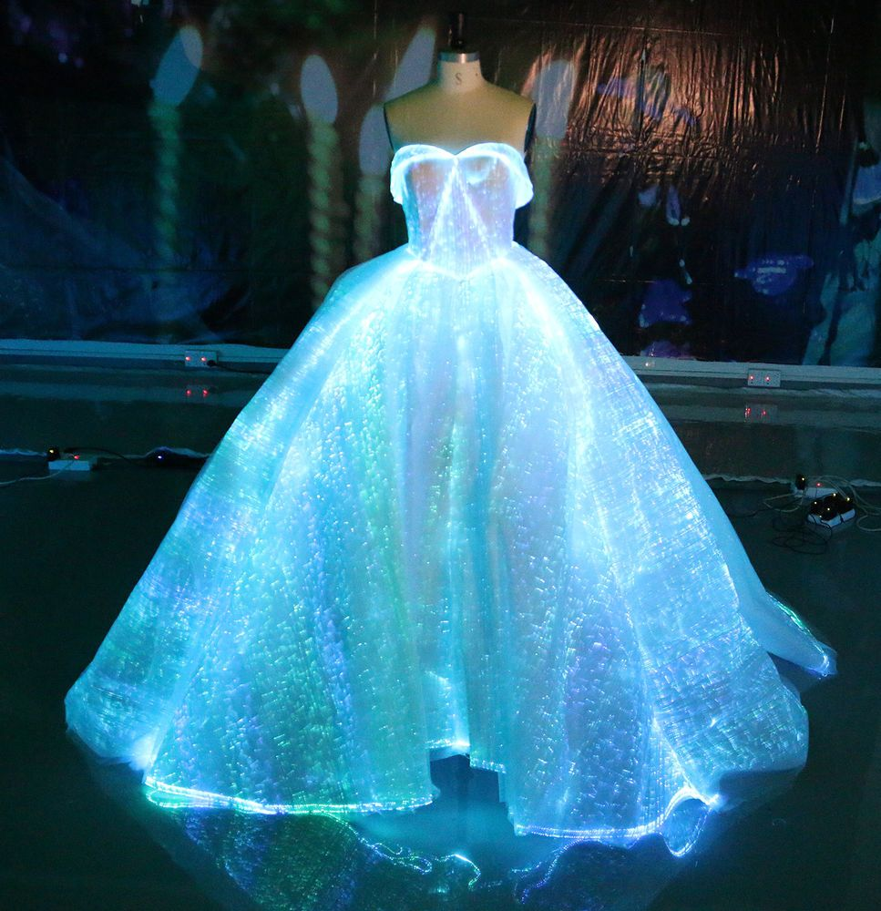 Fiber optic wedding dress rgb led light up wedding gown for Light blue wedding dress meaning
