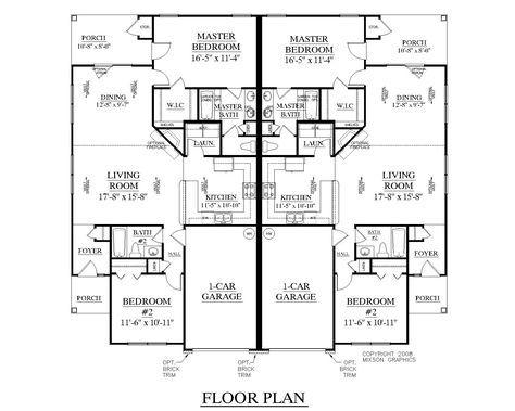 House Plan D1176 DUPLEX 1176 floor plan duplex triplex more in