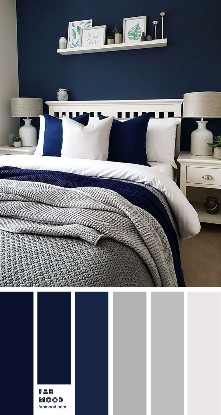 Navy Blue And Grey Bedroom In 2020 Blue Bedroom Walls Blue Bedroom Colors Grey Bedroom Colors