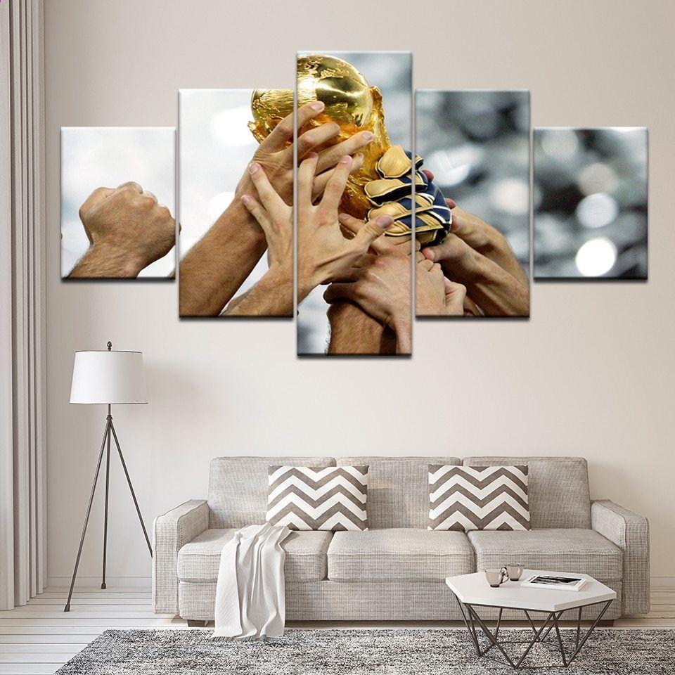 5 Panel Laerred Hd Printet Modulaere Maleri Billede Fodbold Vm Cup Trophy Kunst Moderne Stue Hjem Indretning Vaeg Kunstvaerk Kunstvaerk Ideer Boligindretning Vaegudsmykning
