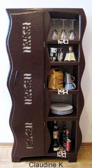 Vaisselier en carton meuble en carton cardboard furniture cardboard crafts et paper furniture - Salon des travaux manuels ...