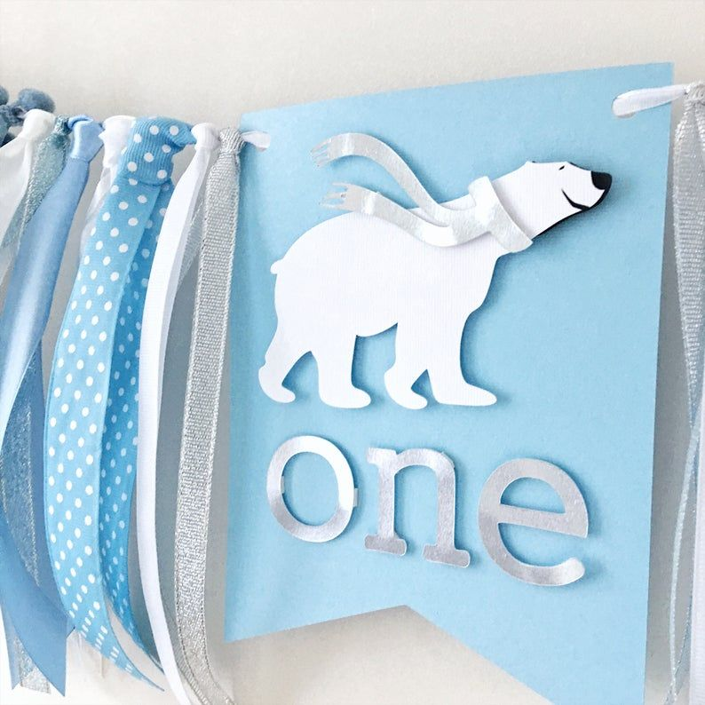 Polar Bear One Highchair Banner Winter Boy 1st Bir