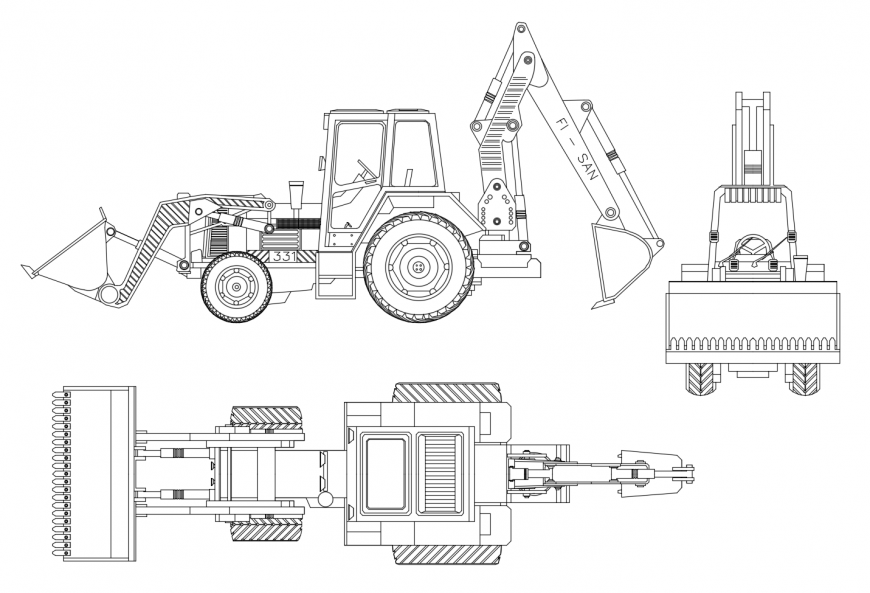 Excavator machine detail 2d view autocad file in 2020