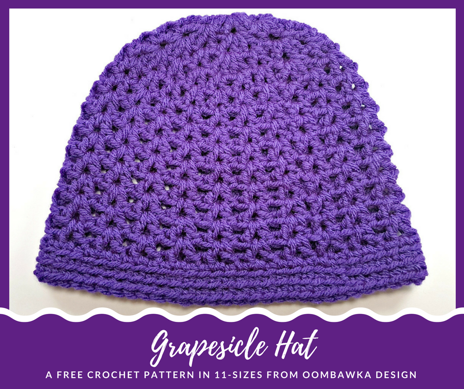 This easy to crochet hat is worked in the V-Stitch pattern and is available  in 2 different lengths. Grapesicle Hat is available in 11 sizes - preemie  to adu 002c8cad261