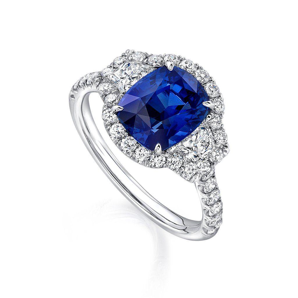 Ct cushion sapphire ring sapphire platinum ring and cushion cut