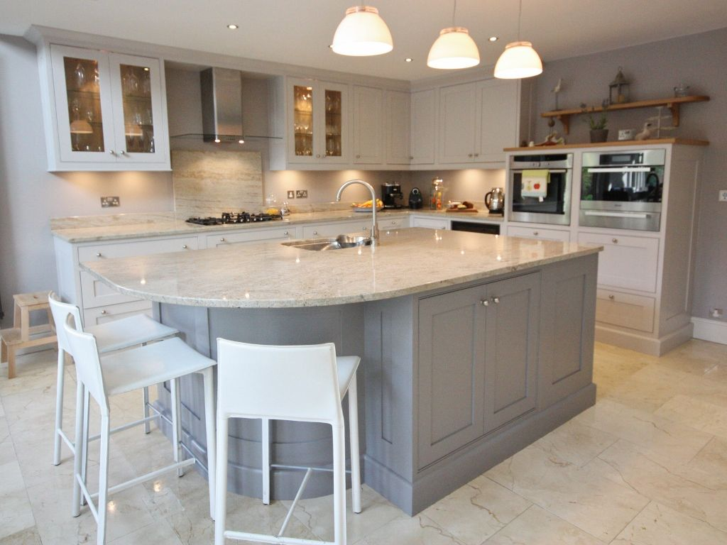 Kitchens With Painted Cabinets Kitchen Classical Painted Cream And - Grey and cream kitchen cabinets