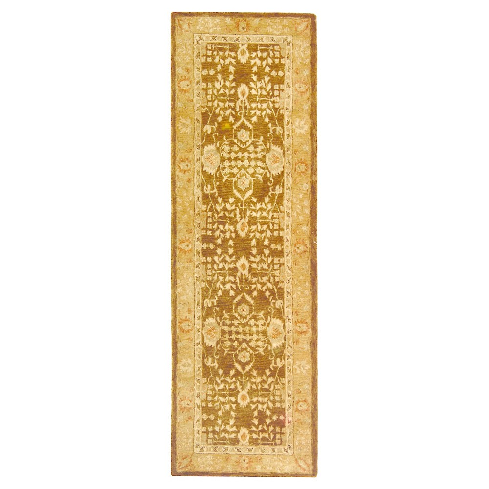 Brown Gold Fl Tufted Runner 2 6 X12 Safavieh