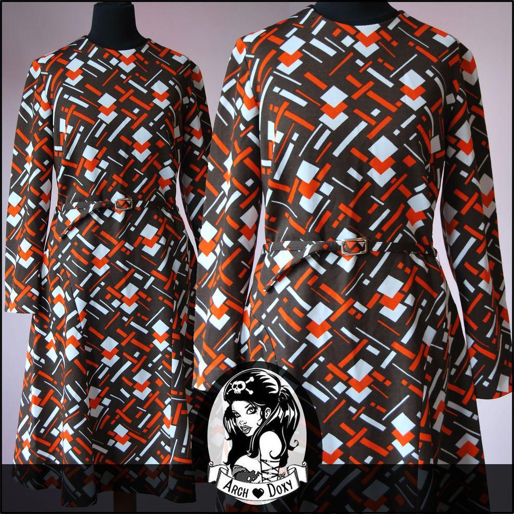 Vintage 1960s Twiggy Geometric Print MOD Scooter SKA Retro Shift Dress Size 14