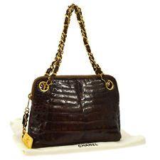 Auth CHANEL CC Logos Chain Hand Bag Dark Brown Crocodile Leather Vintage B30894