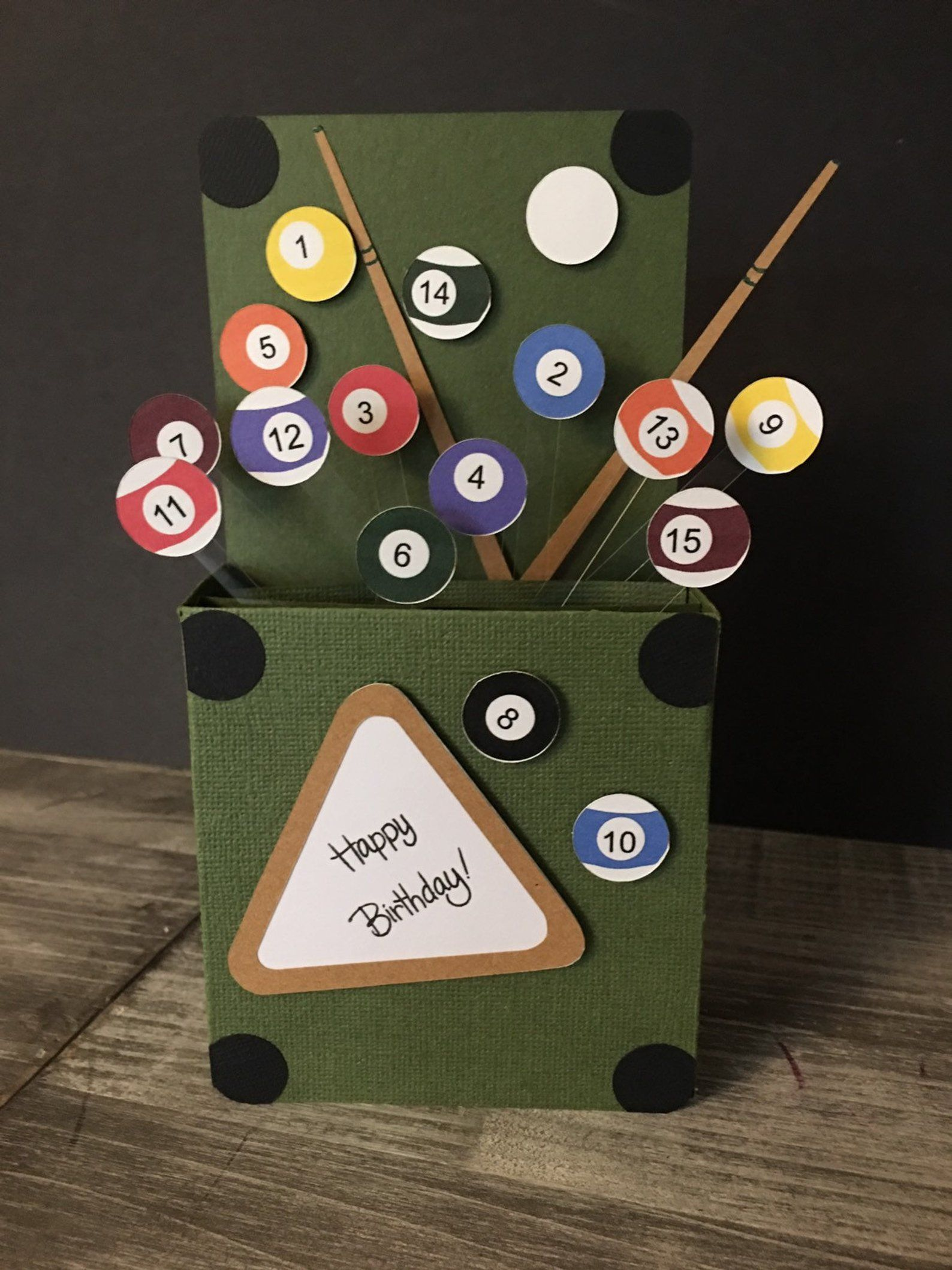 Happy birthday billiards large card in a box pool table