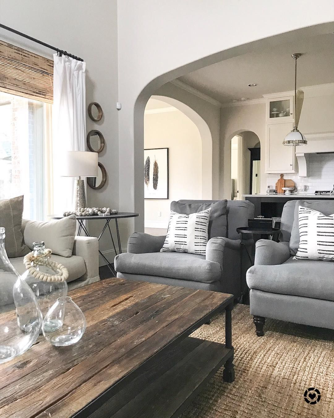 Gray Chairs, Jute Rug, White Curtains, Restoration