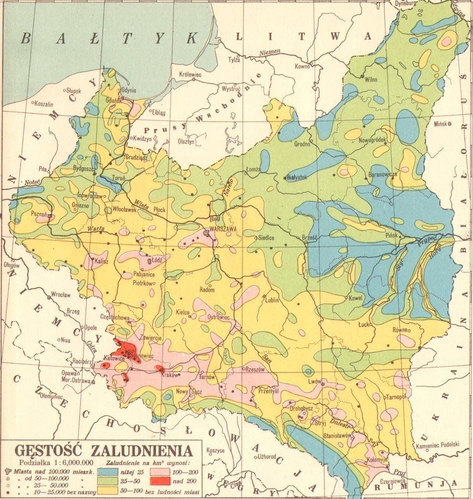 Poland 1930 Map Population density of Poland, 1930 | Maps , geography , history