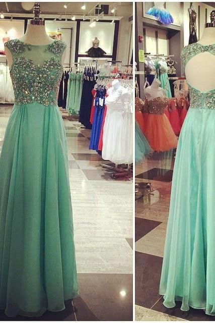 Backless A-Line Prom Dresses, Floor-Length Evening Dresses,Prom Dresses,SC66