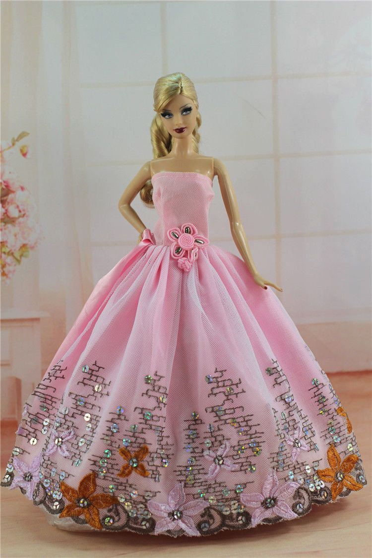Pink Fashion Princess Party Dress Evening Clothes Gown for Barbie ...