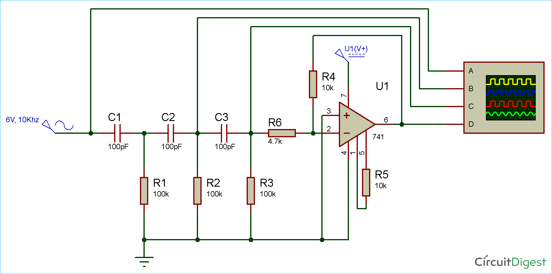 circuit diagram for rc phase shift oscillator using op amp [ 1862 x 926 Pixel ]