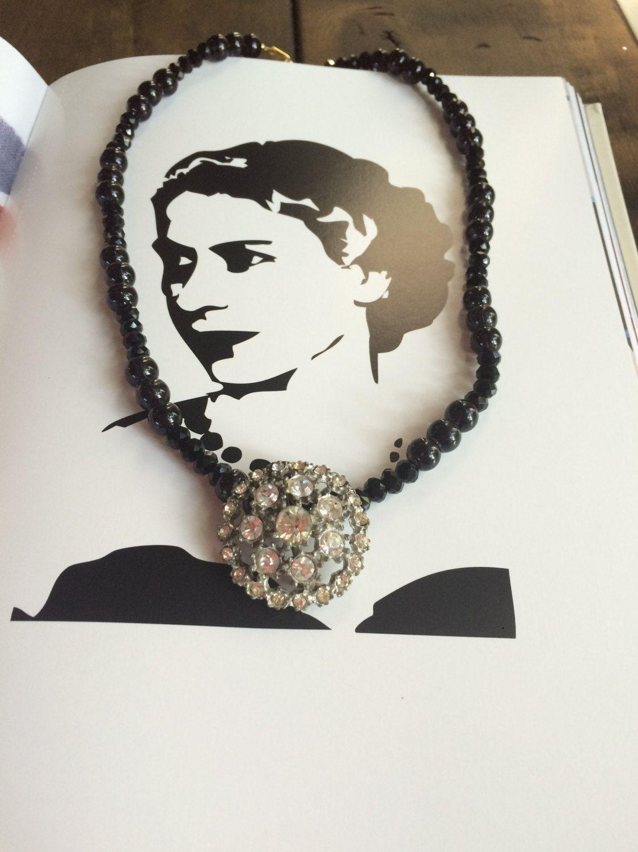 Rhinestone Pin on Black Beads by HerSavingGrace on Etsy