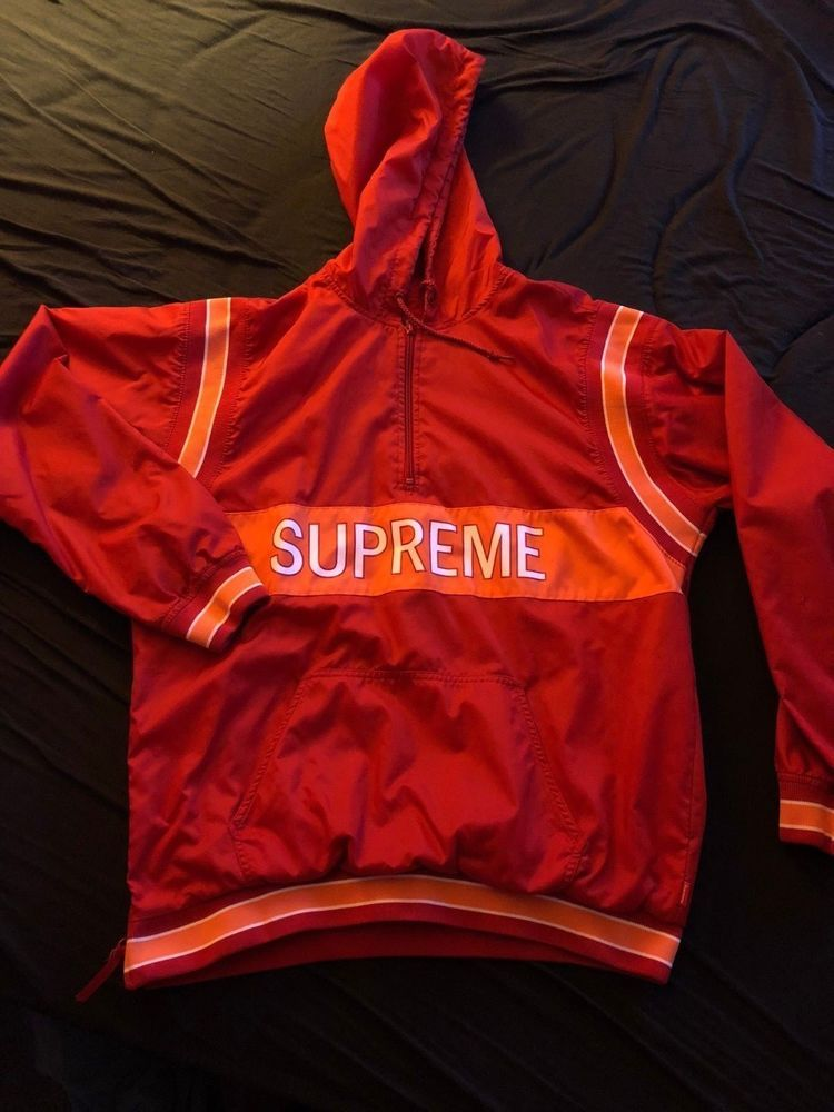 b9ea48ac5a82 Supreme Half zip up pullover Red Orange 2015 Sz Large  fashion  clothing   shoes  accessories  mensclothing  activewear (ebay link)