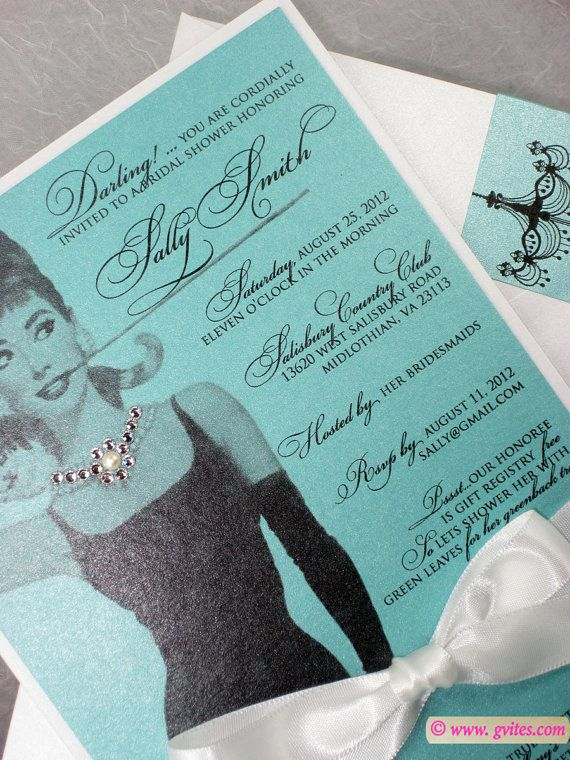 diamonds pearls breakfast at tiffany suite adrey hepburn invitation greenback bridal shower
